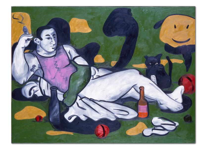 Linda Marrinon Green Nude With Purple Vest, 1990; oil on canvas; 183 x 137 cm; enquire