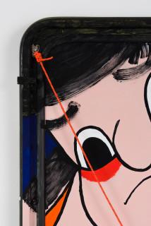 Claire Healy and Sean Cordeiro Momotaro (detail), 2020; Iroquois aircraft panel, acrylic gouache, polyester cord; 85 x 62 x 5 cm; enquire