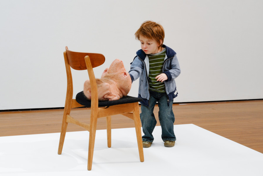 Patricia Piccinini Doubting Thomas, 2008; silicon, fibreglass, human hair, clothing, chair; 100 x 53 x 90 cm; Edition of 3 + AP 1; enquire
