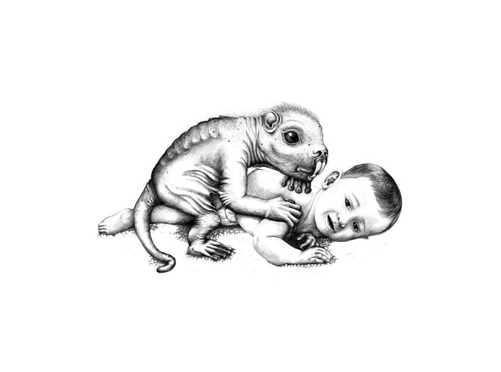Patricia Piccinini Hector (on carpet), 2006; graphite on paper; 57 x 77 cm; Enquire