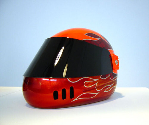 Patricia Piccinini Speed Boy Orange, 2003; from the series Team WAF (Precautions); fibreglass, polycarbonate, automotive paint; dimensions variable; enquire