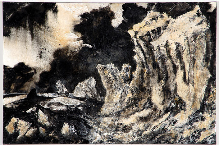 Mandy Martin Wanderers in the desert of the real; The Erebus Passing through the Chain of 'Bergs, 2008; Ochre, pigment, and oil on linen; 100 x 150 cm; enquire