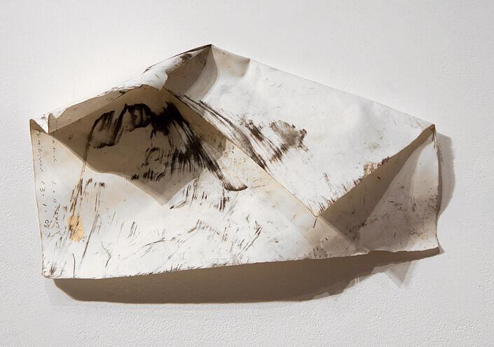 John Wolseley Sunset Ventifact, 2006-10; carbonized wood and watercolour on paper; 21 x 28 cm; enquire