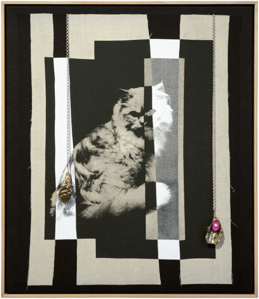 Sarah  Contos Cat, 2015; Collaged screen print on linen, chain, Fimo, nickel plated oyster shells, faux pearls and thread; 86.7 x 74.3 x 6 cm; enquire
