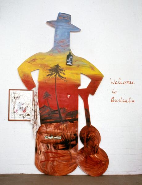 Juan Davila Welcome to Australia, 1993; oil & collageon wood, perspex & paper; 270 x 152 cm; enquire