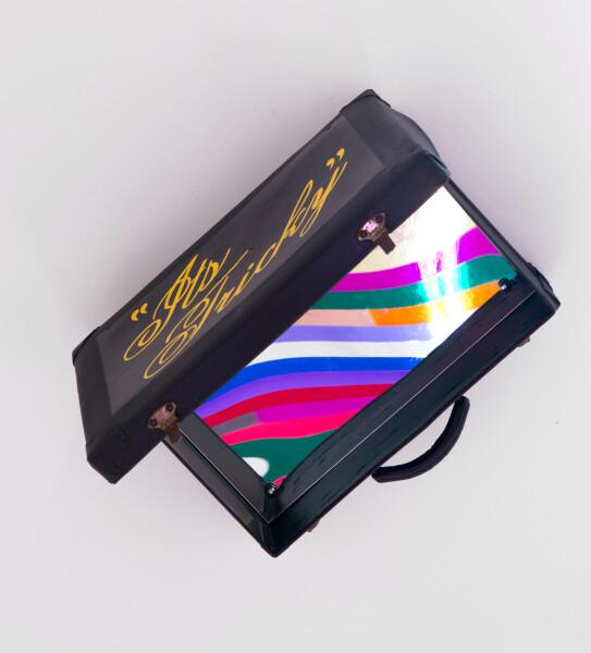 Jim Lambie It's Tricky (Run DMC), 2015; found suitcase, mirror, enamel paint; 30 x 45 x 46 cm; enquire