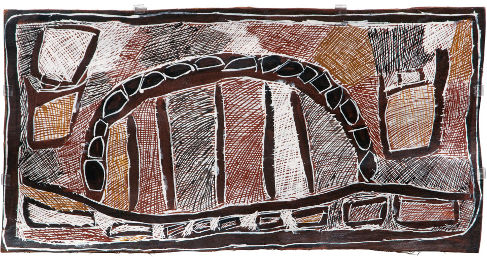 Nyapanyapa Yunupingu 5. Sydney Harbour Bridge, 2008; Natural earth pigments on bark 3439T; 40 x 79 cm; enquire