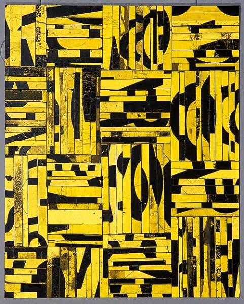 Rosalie Gascoigne Canary Bird, 1996; retro reflective roadsign on wood; 75 x 60 cm; enquire