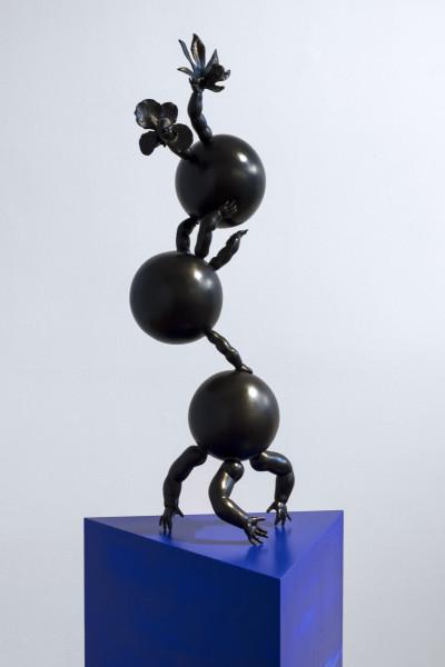 Del Kathryn Barton soft river yr girl, 2017; sculpture medium - bronze; plinth medium - spray paint on wood; sculpture size - 64x 20 x 20cm; plinth size - 100 x 40 x 40x 40 cm; enquire