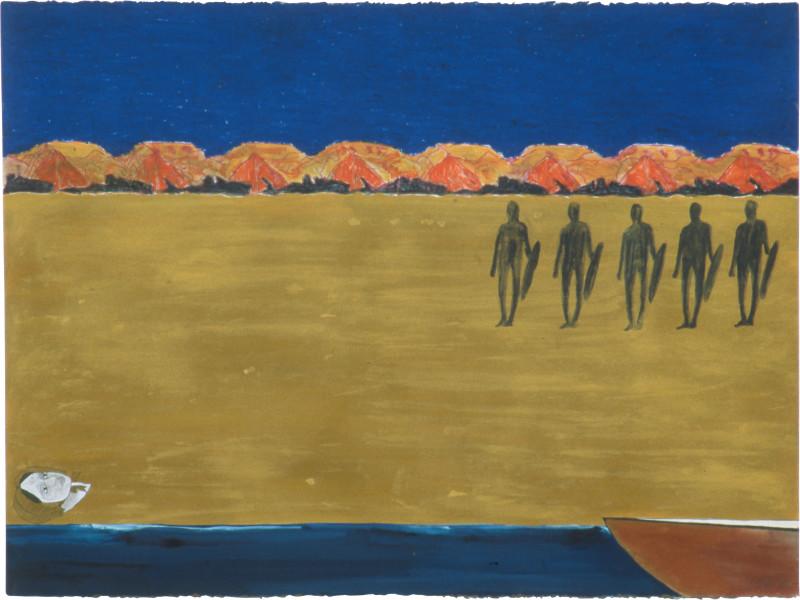 Fiona Foley Eliza's Ship Wreck, 1990; pastel, aquarelle, ink, oil stick and pencil on paper; 57 x 76.5 cm; enquire