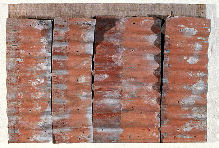 Rosalie Gascoigne Rose Red City #9, 1993; corrugated iron on wood; 78 x 110 cm; enquire