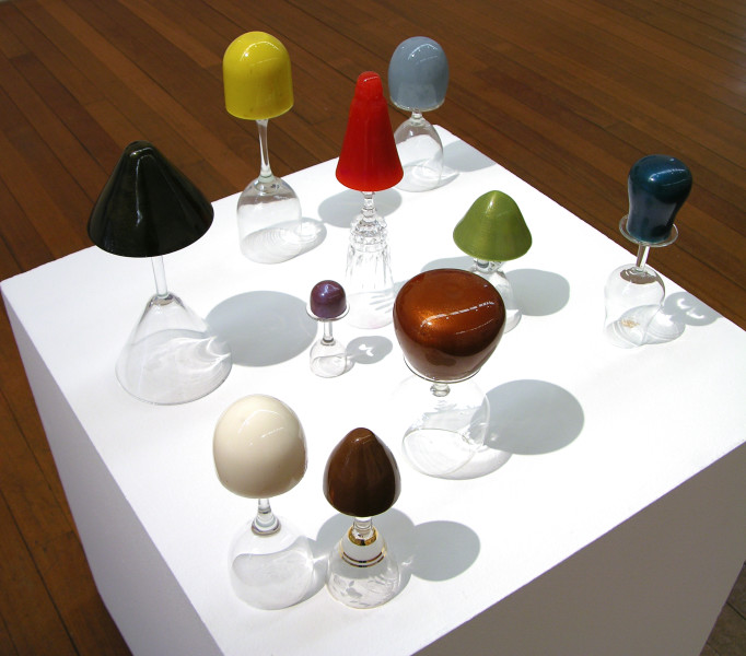 Hany Armanious Untitled Snake Oil, 2005; hotmelt oil paint and glass; 10 pieces, dimensions variable; enquire