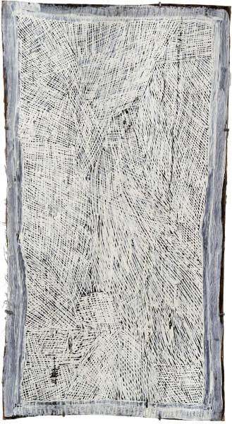 Nyapanyapa Yunupingu 16. White Painting #3, 2009; Natural earth pigments on bark 3582I; 98 x 53 cm; enquire