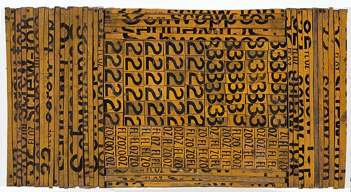 Rosalie Gascoigne Ledger, 1992; sawn/split soft-drink crates on plywood; 80.7 x 43 cm; enquire
