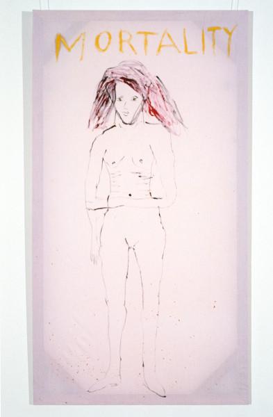 Jenny Watson Mortality, 1989-90; oil on Rabbit skin Glue primed liberty cotton; 243.5 x 182.5 cm; enquire