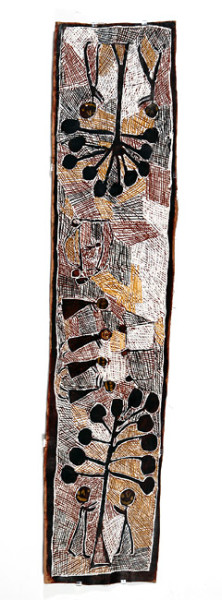 Nyapanyapa Yunupingu Banyan Trees and Bulldozers, 2008; natural earth pigments on bark; 181 x 43 cm; enquire