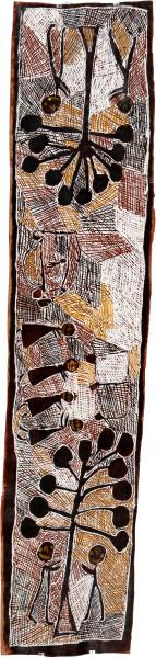 Nyapanyapa Yunupingu Banyan Trees and Bulldozers, 2008; natural earth pigments on bark; 181 x 43 cm; enquire
