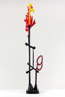 Caroline Rothwell Biomorph vermillion rose, 2018; Hydrostone, canvas, epoxy glass, stainless steel, vinyl paint, wood; 172.5 x 65 x 40 cm; enquire