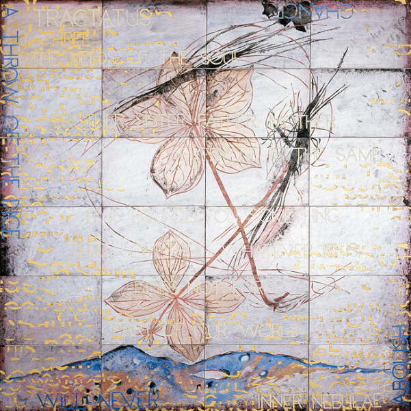 Imants Tillers Tractatus 3 , 2009; acrylic, gouache on 24 canvasboards, no. 85357 - 85380; 153 x 153 cm; enquire