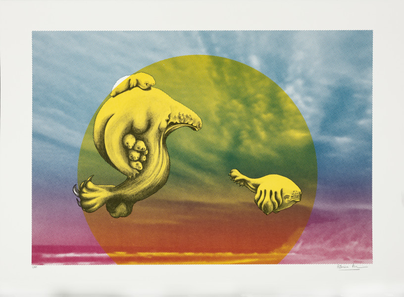 Patricia Piccinini The Skywhale Suite (Seashore), 2019; Lithograph on BFK Rives 250gsm; 50 x 60 cm; edition of 25 + 2 AP; enquire