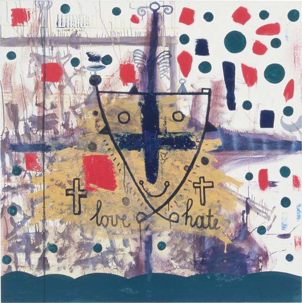 Gareth Sansom Love/Hate, 1986; oil on canvas; 137 x 137 cm; enquire