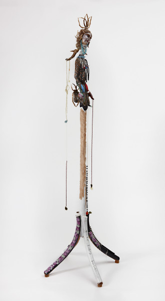 Del Kathryn Barton there is always more, 2016; pearls, faceted gemstones, bronze, wooden figurines, hemp twine, nails, archival ink on rag paper, wooden hat stand; 206 x 65 x 65 cm; enquire