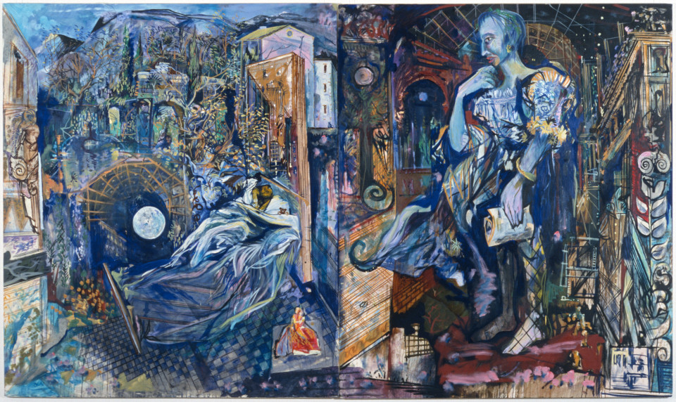 Victor Rubin La Tempesta and Soliloquy a liaison with the durable, 1989; oil on primed linen; 199 x 335 cm; enquire