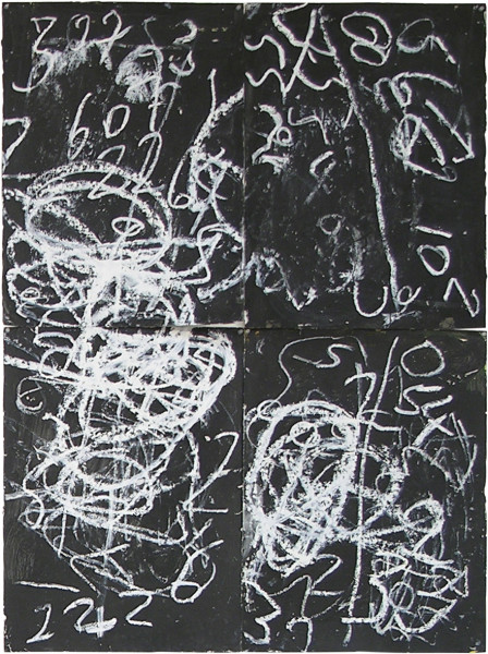 Newell Harry Untitled: Numbers, 2005; black gesso, oil pastel, on ironed Fabriano paper, four parts; 150 x 112 cm; (Overall dimensions); enquire