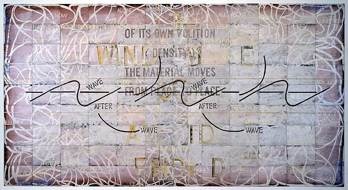 Imants Tillers Surrender, 2003; synthetic polymer paint, gouache on 108 canvasboards, nos.  73119 - 73226; 228.6 x 426.7 cm; enquire