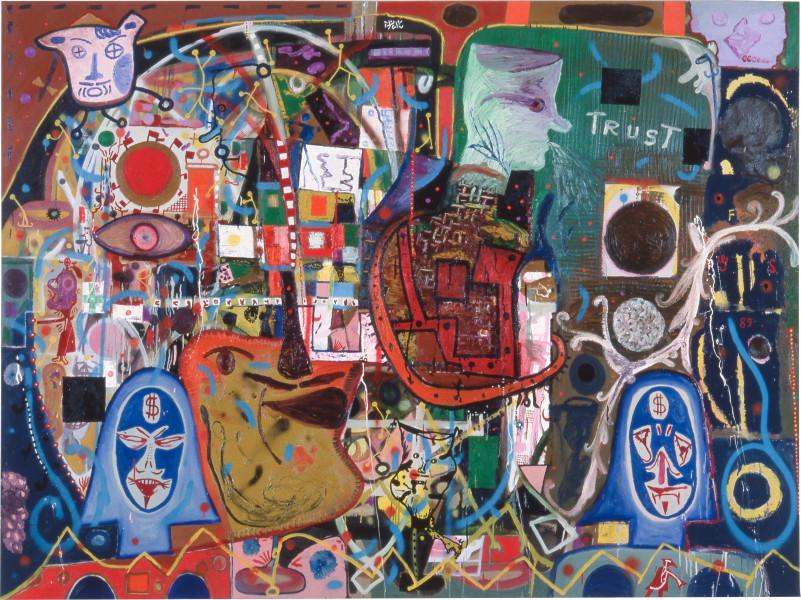Gareth Sansom Family, 1988; oil and enamel on linen; 198.1 x 228.6 cm; enquire