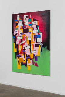 installation view; Gareth Sansom Construction, 2020; oil and enamel on linen; 152 x 122 cm; enquire
