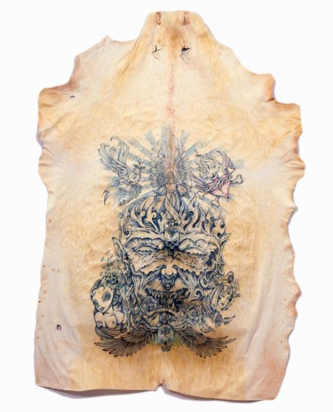 Wim Delvoye Untitled (Hate), 2006; tattooed pigskin, framed between glass; 190 x 139 cm; enquire