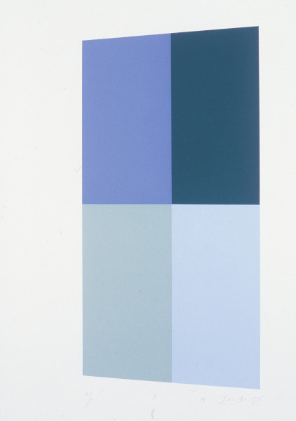 Robert Jacks Top, Bottom, Right, Left, 1975; silkscreen print; sheet 66.3 x 51 cm., image 52.1 x 25.6 cm; enquire