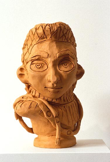 Linda Marrinon Bust with Snood, 1994; terracotta; 35 cms high; enquire