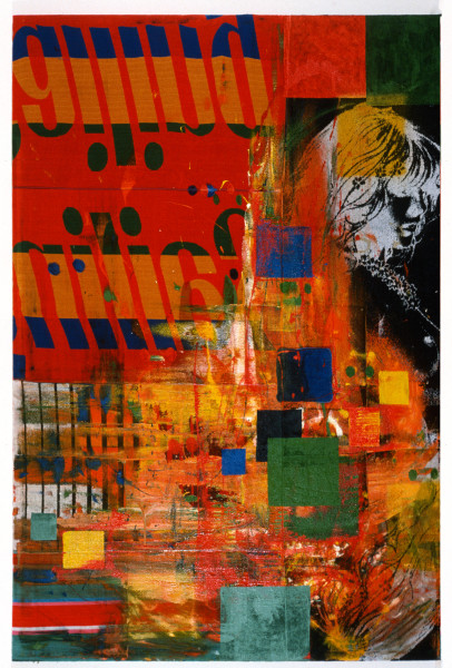 Dale Frank Pop Goes The Weezel, 1989; acrylic on printed cotton; 300 x 200 cm; enquire