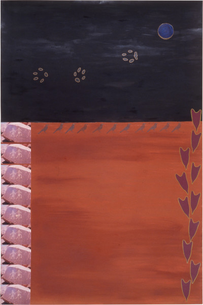 Fiona Foley A Three Legged Dog Day, 1989; pastel, pencil, ink and collage on paper; 152 x 102 cm; enquire