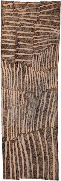 Nyapanyapa Yunupingu Lines Pink and Black 1, 2017; 4044-17; natural earth pigments on bark; 214 x 71 cm; enquire