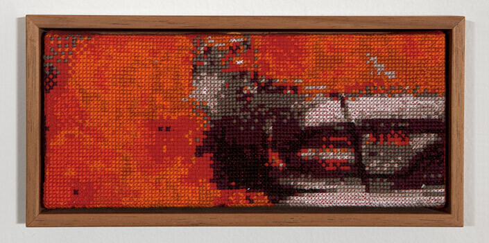 Claire Healy and Sean Cordeiro Tapestry of Disaster, Baghdad, 2013; cotton cross stitch ; 9 x 18.5 cm; enquire