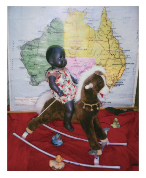 Destiny Deacon Ride a cock horse A, 2006; lightjet print from Polaroid original; 100 x 80 cm; Edition of 8 + 2 APs; enquire