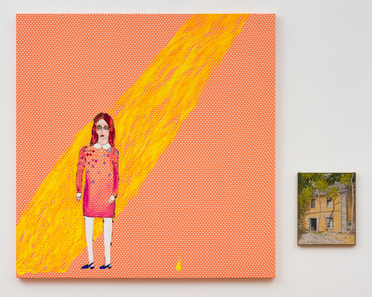 Jenny Watson Sunshine of your love, 2020; Acrylic on French cotton and tapestry template; 140 x 137cm; 39 x 31cm; enquire