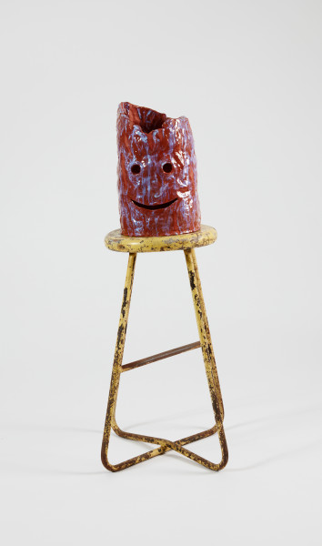 Nell The Loved One, 2015; The Wake No. 20; earthenware, glaze, polyurethane, pigment, wooden and metal stool; 95.5 x 34 x 33 cm; object : 34 x 21 x 21.5 cm stool : 61.5 x 34 x 33 cm; enquire