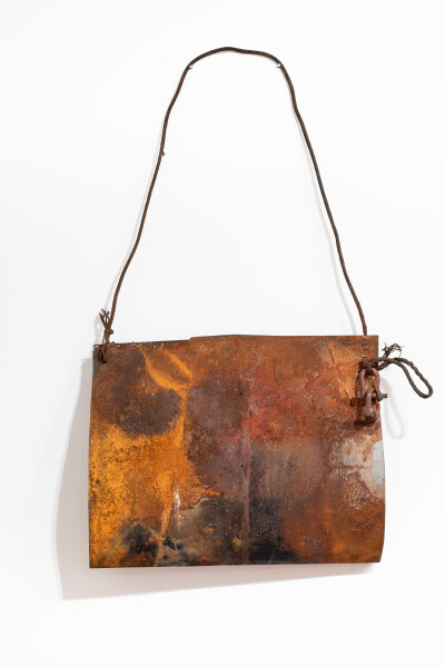 Lorraine Connelly-Northey Narrbong, 2019; CONNL - 0033; rusted steel, cable wire; 180 x 115 x 20 cm; Enquire