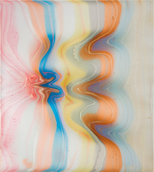 Dale Frank She had only had sex with her son in law three times, 2020; powder pigments in resin, epoxyglass, on Perspex; 200 x 180 cm; enquire