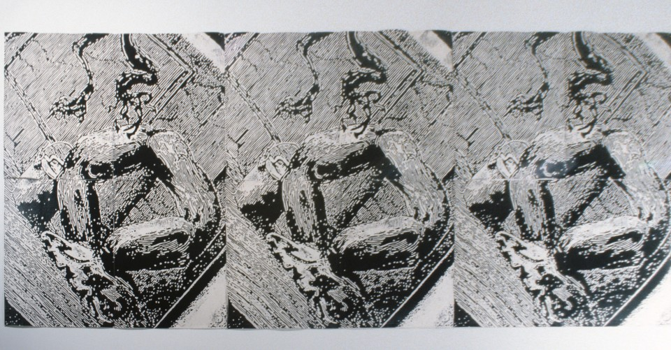Ken Orchard Transformation, 1987; woodblock print on cotton duck; 161 x 792 cm; enquire