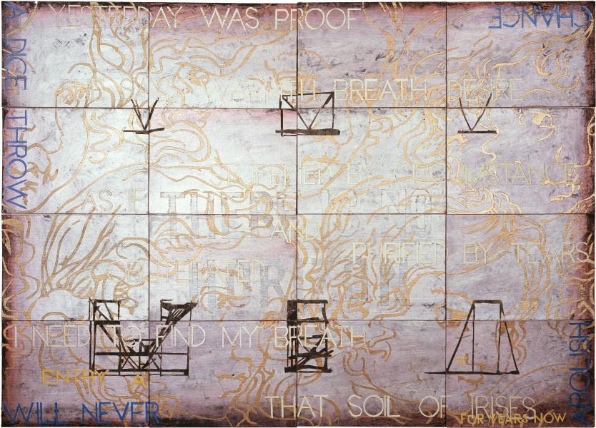 Imants Tillers Nature Speaks: AT, 2008; acrylic, gouache on 16 canvasboards nos. 81268 - 81283; 101.6 x 142.2 cm; enquire