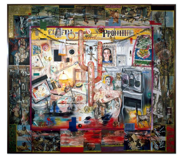 Juan Davila Hybrid, 1989; oil and collage on canvas; 300 x 340 cm; enquire
