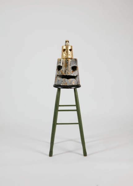 Nell I'm on top of the world, 2015; The Wake No. 31; concrete, acrylic paint, spray paint, The Financial Times, glitter, polyurethane, wooden stool; 111 x 36 x 36.5 cm; object#1 Bottom: 25.3 x 24.6 x 25.2 cm object#2 Middle: 12.2 x 11.7 x 11.5 cm object#3 Top : 5.5 x 4.6 x 4.6 cm stool : 68.4 x 35.9 x 36.4 cm; enquire