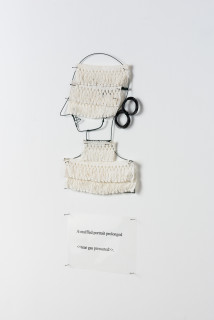 Jacqueline Fraser A muffled portrait prolonged >,, 2003; from the series AN ELEGANT PORTRAIT REFINED IN ELEVEN STUDIOUS PARTS >; wire, French braid from La Pigalle, Paris; 85 x 35 cm; enquire