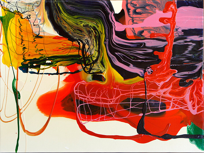 Dale Frank Red Fern, 2012; varnish on canvas; 120 x 160 cm; enquire