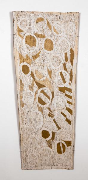 Nyapanyapa Yunupingu 13. Untitled, 2013; 4399Z; natural earth pigments on bark; 135 x 55 cm; enquire